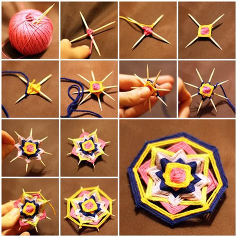 toothpick crafts for wonderful diy 8 sides mandala brooch with toothpicks