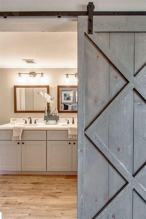 barn doors for bathrooms blissful abode interiors bathroom with gray vanity