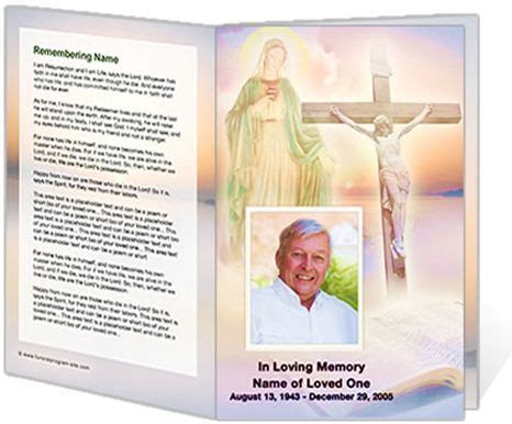 catholic mass card template catholic mass ceremony programs vision single fold