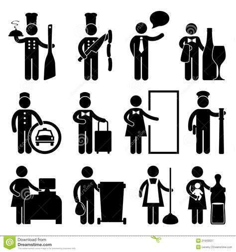 Chef Waiter Butler Driver Bellman Pictogram Royalty Free Stock Photography Image: 21943027