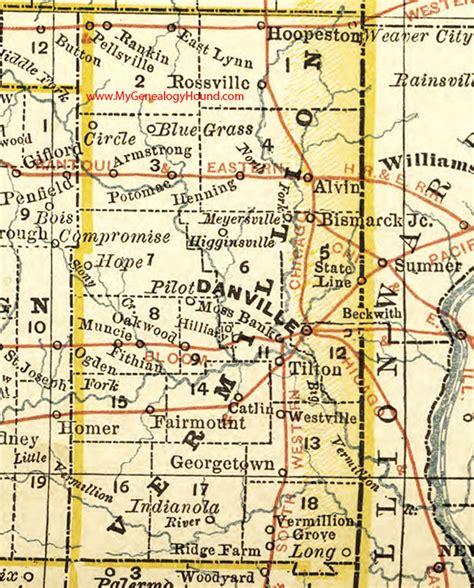 Vermilion County Search Vermilion County Illinois 1881 Map Danville Vermillion