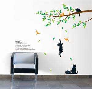 cats on the tree wall stickers wallstickery com bending siamese cat wall sticker animals cats and dogs
