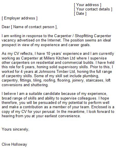 carpenter cover letter sle