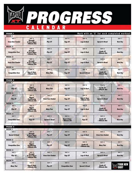 printable ufc schedule tapout xt workout schedule tapout xt workout calendar