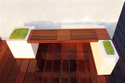 Concrete and Ipe Bench Modern Deck Los Angeles by
