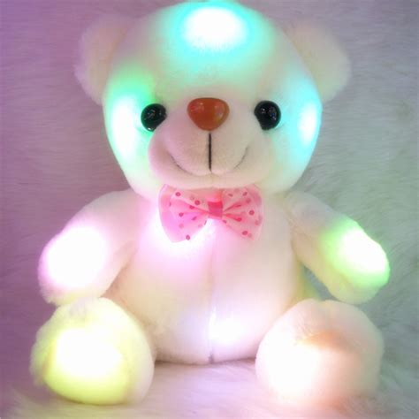 light pink teddy bear cute stuffed night light plush lovely teddy bear soft doll