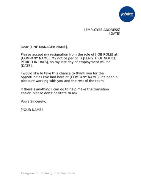 simple resignation letter examples word examples