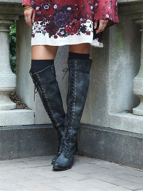 jeffrey cbell thigh high boots jeffrey cbell lace up boot in black lyst