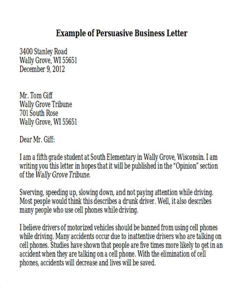 persuasive business letter template sle persuasive business letter 7 exles in word pdf