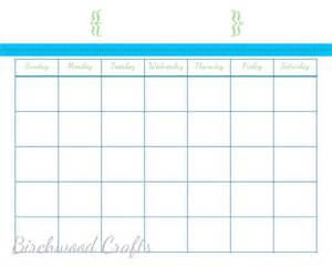 items similar to printable monthly calendar template for