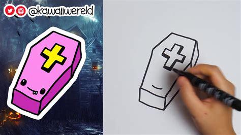 doodskop tekenen kawaii doodskist tekenen halloween teken challenge dag 1