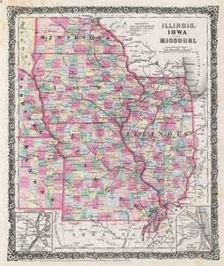Iowa Illinois Map by Illinois Iowa And Missouri Geographicus Rare Antique Maps