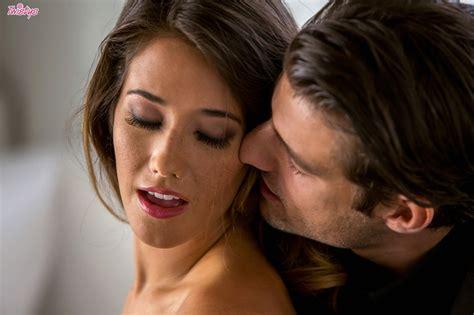 eva lovia in black stockings making love with handsome man
