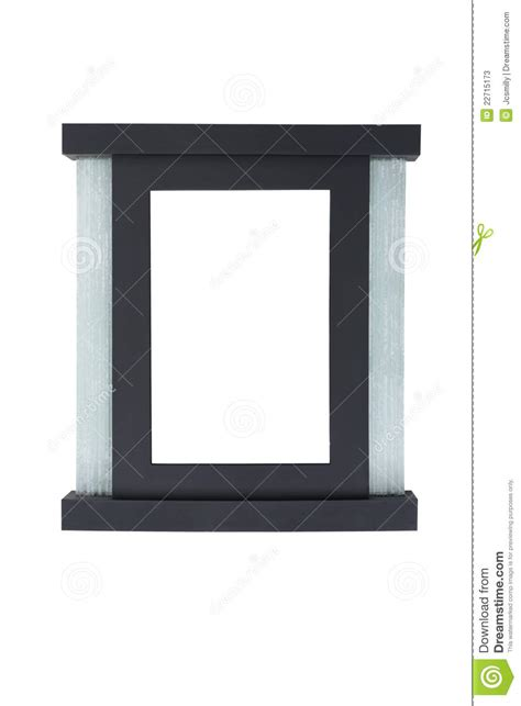 black picture frame with glass decoration stock photos