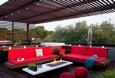Outdoor Patio Furniture Austin Rooftop Outdoor Living With A Tub And Shower Modern