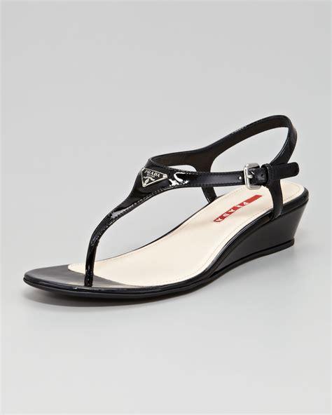 black prada sandals prada patent logo demi wedge sandal in black lyst