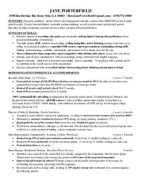 resume jane porterfield sales manager short 1