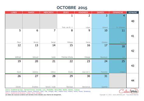 Calendrier D Octobre 2015 Calendrier Mensuel Mois D Octobre 2015 Avec F 234 Tes Jours