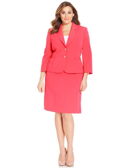 Two Botton Big Size Plus Size tahari plus size two button crepe skirt suit in pink lyst