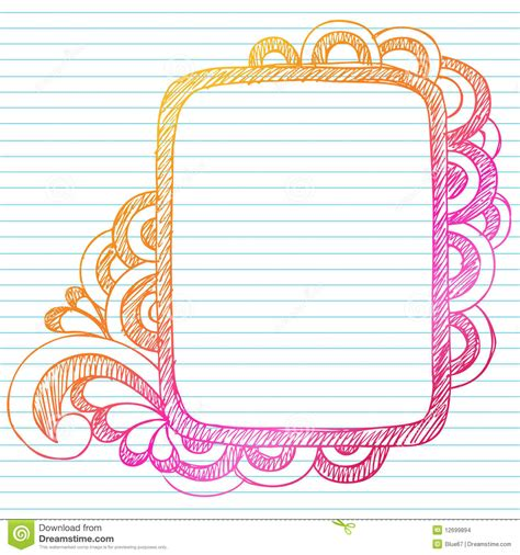 hand drawn sketchy doodle frame stock vector