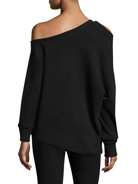 Pompom Accent Pullover lyst christopher pom pom sweatshirt in black
