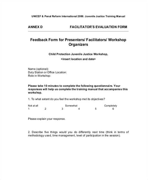 17 workshop evaluation form templates