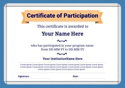 certification letter of participation 28 images