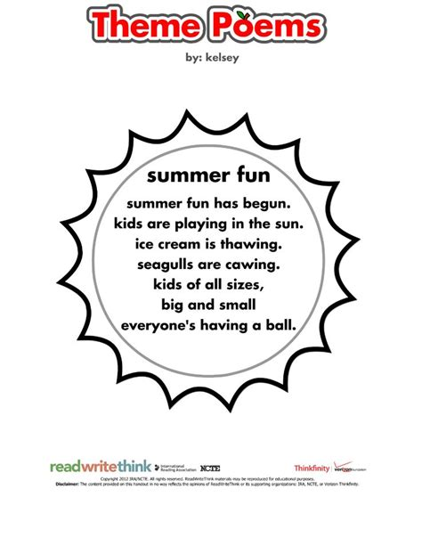 themes of the facebook sonnet 24 best summer learning from readwritethink org images on
