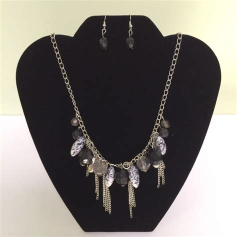 Fashion Necklace A49403 Gray fashion necklace earring gray silver set 137 chinaberry tree