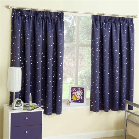 kids drapery navy blue stars thermal blockout tape top curtains for