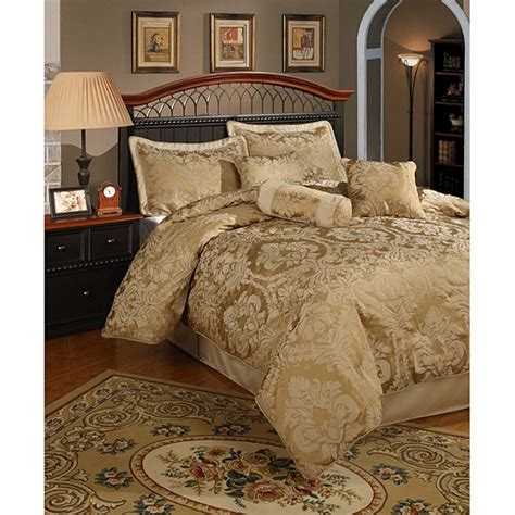 7pc elegant gold damask faux silk comforter set queen ebay