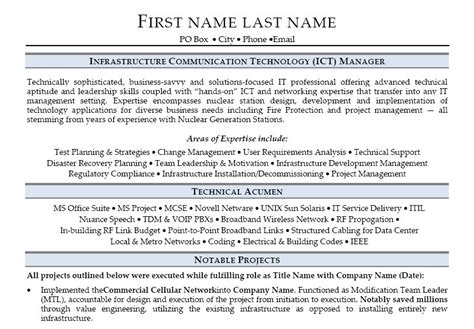 Ict Manager Cover Letter Infrastructure Communication Technology Ict Manager Resume Template Premium Resume Sles