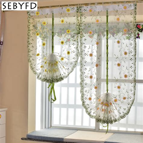 balloon curtains for kitchen aliexpress com buy organza embroidery pattern flowers
