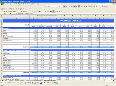 home budget template household budget excel templates