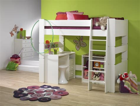 Steens Bunk Beds Steens For High Sleeper Pedestal Desk Low Bookcase In Solid Plain White