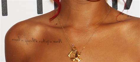 rihanna shoulder tattoo rihanna s chest quot always a lesson never a failure quot