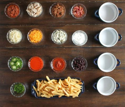 french fry bar toppings french fry bar with nfl homegating thekittchen