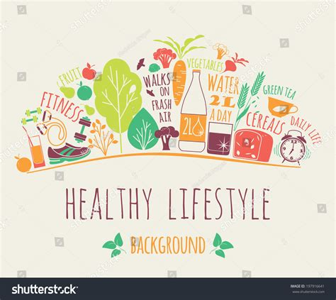 design art lifestyle healthy lifestyle background stock vector 197916641