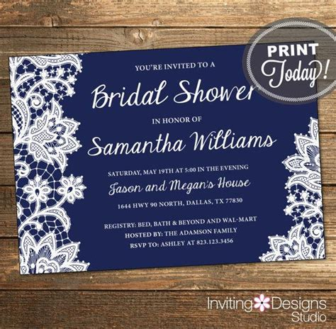 free printable wedding invitations navy lace bridal shower invitation wedding shower invitation