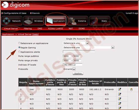 aprire porte router digicom digicom 8e4492 raw150 a02 aprire porte emule