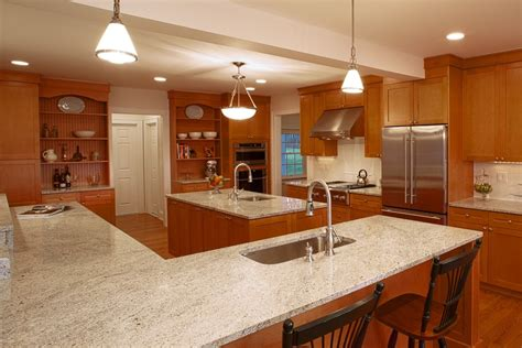 kashmir white granite countertops Kitchen Traditional with counter seating GE Monogram