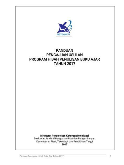 format buku ajar 2017 panduan program hibah penulisan buku ajar tahun 2017 pdf
