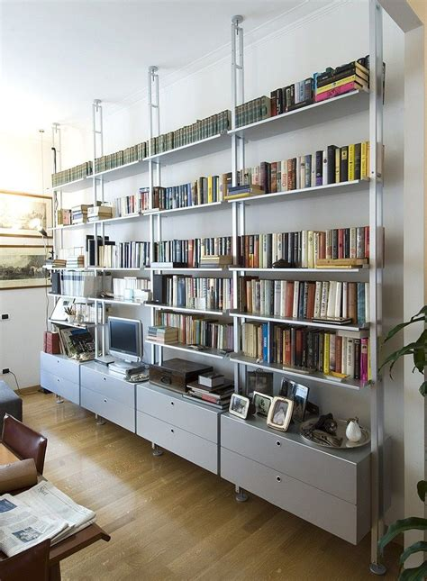 kryptonite libreria scaffale bifacciale componibile in alluminio k2 libreria