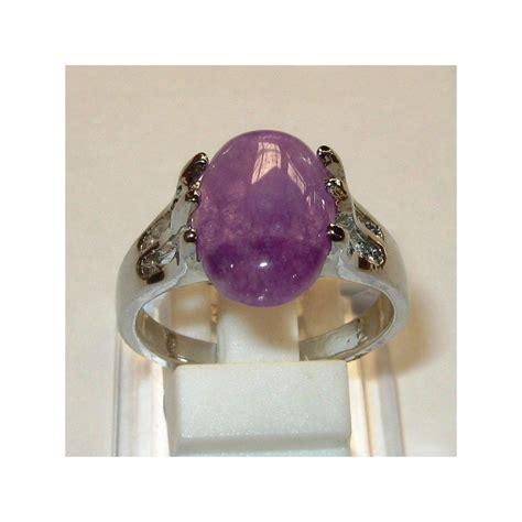 Cincin Oval cincin wanita batu kecubung ungu oval cab ring size 20mm