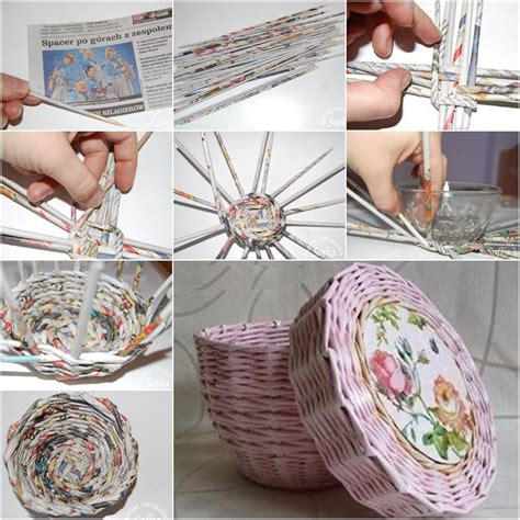 Paper Basket Craft Ideas - creative ideas diy woven paper basket using newspaper