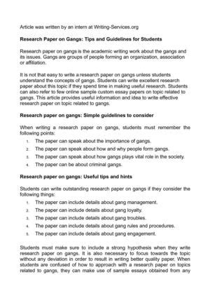 gangs research paper calam 233 o research paper on gangs tips and guidelines for