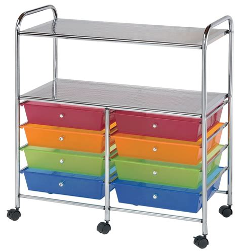 craft storage cart with drawers 8 drawer rolling storage carts shelves by alvin