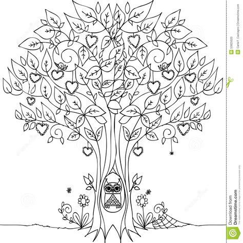love tree  owl stock vector illustration  trunk