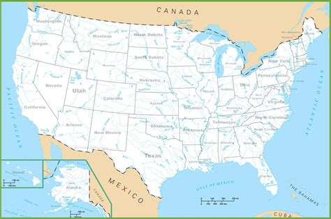 map of the united states with rivers and mountains usa rivers and lakes map