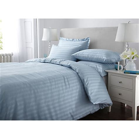 Home of Style Satin Stripe Duvet Cover Set   Duck Egg   Double